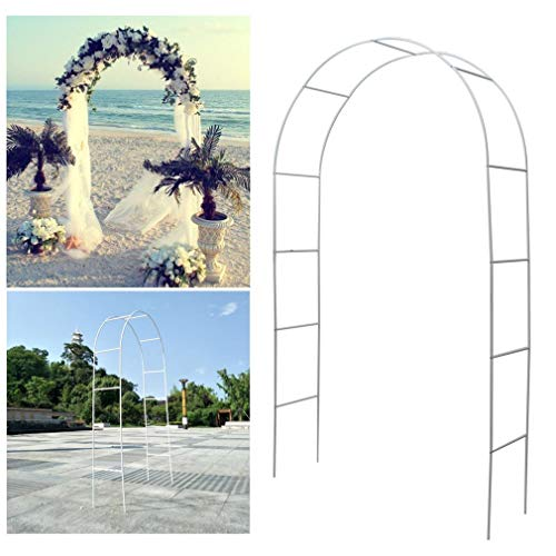 Blackpoolfa 7.5 FT White Metal Arch Wedding Garden Bridal Party Decoration Arbor Climbing Plant Support Trellis