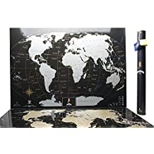 Scratch World map Deluxe Black-Silver, MyMap Black Edition w USA / Canada States, Personal Birthday gift, 1 Anniversary, Large map 35*25 Inches - Gift in Tube - Travel map -Birthday Gift -Scratch off map