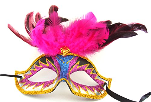 Venetian Eye Mask Feather Top 10 Costume Prom Party Mardi Gras]()