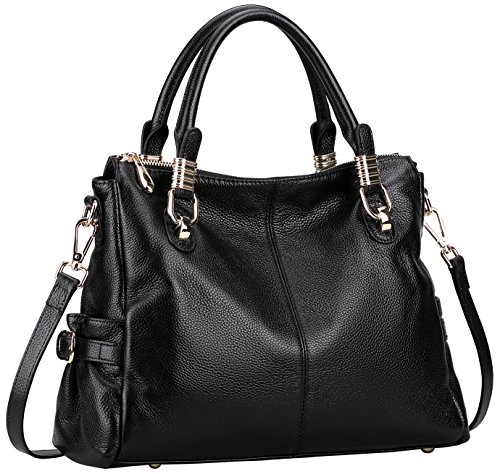 Farinal Genuine Leather Handbags For Women Retro Ladies Crossbody Bags And Satchel Color Black