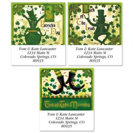 Personalized St Patricks Day Square Address Labels - Set fo 144 Self-Adhesive, Flat-Sheet Irish labels