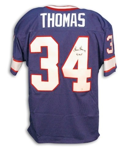 "Autographed Thurman Thomas Buffalo Bills Blue Throwback Blue Jersey inscribed ""91 NFL MVP"" -APE COA"