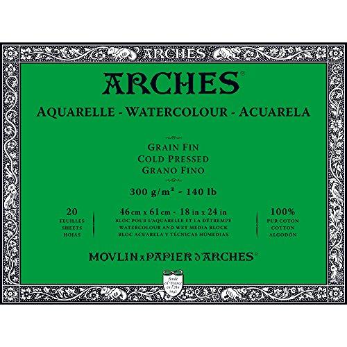 """Arches Watercolor Paper Block, Cold Press, 18"""" x 24"""", 140 pound"""