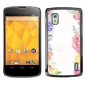 For LG Google NEXUS 4 / Mako / E960 Case , Bouquet White Spring Girly - Diseño Patrón Teléfono Caso Cubierta Case Bumper Duro Protección Case Cover Funda