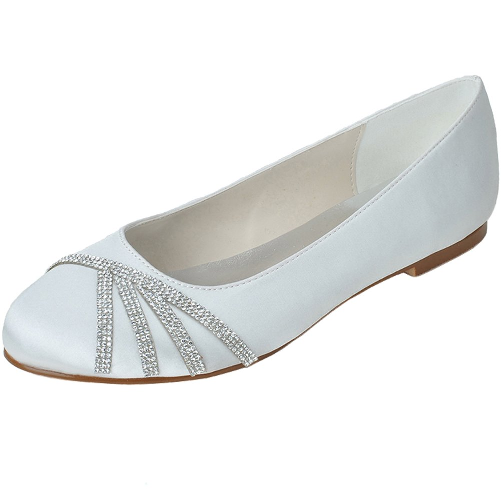 Loslandifen Women's Elegant Pointed Toe Satin Flats Punctuated with Rhinestones Party Court Shoes B019K52MBA 41 M EU/9.5 B(M)US|White
