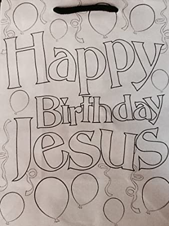 Happy Birthday Jesus Gift Bag Colorable