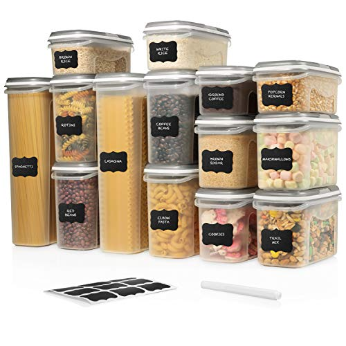 LARGE SET 28 pc Airtight Food Storage Containers with Lids (14 Container Set) Airtight Plastic Dry Food Space Saver…