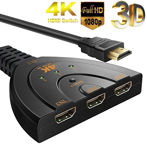 HDMI Switch 4K,NXLFH 3 Port 4K HDMI Switcher HDMI Splitter with Pigtail Cable Supports 4K/Full/1080P /3D HD Audio for Nintendo Switch PS4/PS3/Xbox/STB/Apple TV/DVD Player