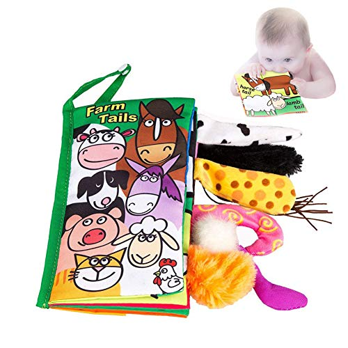 Majestices Best Soft Fabric Baby Books Activity Crinkle Animal Baby Cloth Book Tail Colorful Handmade Educational Interactive Toys for Boy & Girl(Farm Tails)