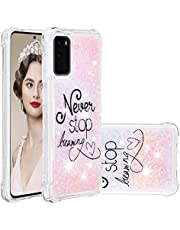 Miagon Liquid Clear Case for Samsung Galaxy S20,Soft Glitter Shockproof Cover Floating Bling Sparkle Shiny Heart Quicksand Liquid Clear Protective Case Cover-Dream