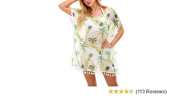 2aff63a59f5b0 Women Chiffon Swimsuit Cover up Beach Bikini Stylish Tassel Bathing Suit  Cover ups at Amazon Women's Clothing store: