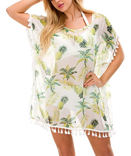 Tandisk Women's Summer Swimsuit Bikini Beach Swimwear Cover up White Pineapple ()