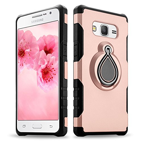 Galaxy Grand Prime Case, Galaxy J2 Prime Case, eSamcore Protective Rugged Case Cover with Ring Holder Kickstand [Car Mount Available] for Samsung Galaxy Grand Prime G530/J2 Prime [ROSE GOLD]