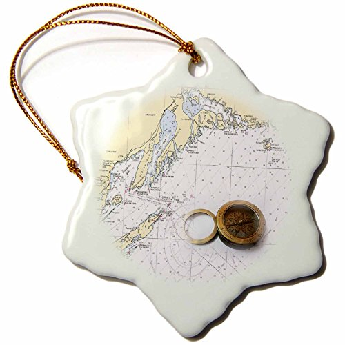 3Drose Florene   Nautical Map D Cor   Print Of Thunder Bay Nautical Chart With Compass   3 Inch Snowflake Porcelain Ornament  Orn 204902 1
