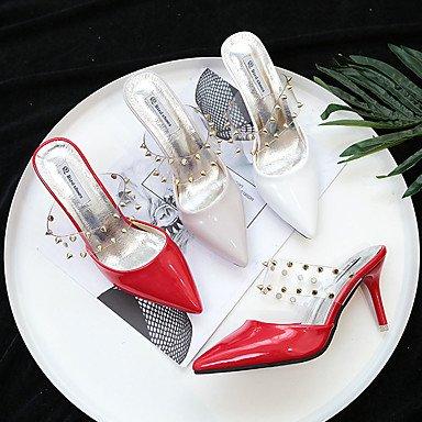 Niete LvYuan ggx Grau Rot 2 Heels Sommer High cm Kleid 5 PU 4 Stöckelabsatz Damen 5 ruby Weiß vvx0wSrq