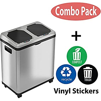 Amazon Com Itouchless 16 Gallon Touchless Trash Can And