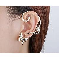 Jaywine2 Modish Nice Women Butterfly Ear Cuff Clip Stud Crystal Rhinestone Earring 1 Pair