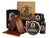 Beard & Bates | Grooming Essentials Beard Kit | Premium 19th Century Beard Balm, Organic Beard Oil, Luxury Sandalwood Switchblade Folding Comb, and Genuine Engraved Leather Pouch