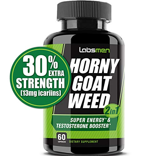 LabsMen 2-in-1 Horny Goat Weed Extract with Epimedium (13mg Icariin), Maca, Tribulus Terrestris, L Arginine & Ginseng - Testosterone Booster for Men | Enhance Stamina, Performance & Libido (Hayfever Complex)