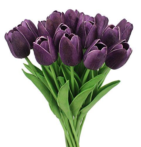 Duovlo 18 heads Artificial Mini Tulips Real Touch Wedding Flowers Arrangement Bouquet Home Room Centerpiece Decor (Dark Purple)
