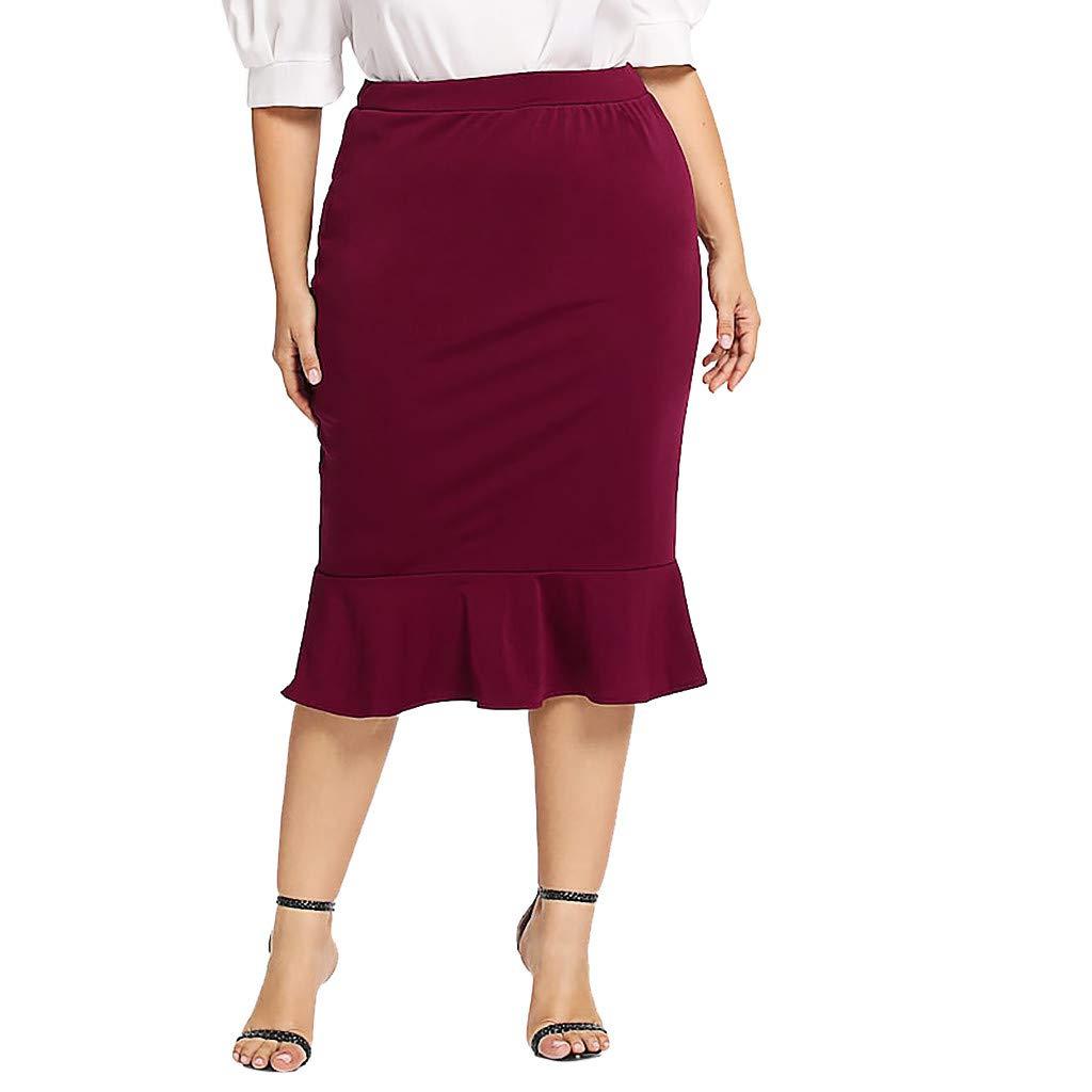 TWGONE Ruffle Skirt For Women Elastic Waist Plus Size Solid Mermaid Hem Maxi Skirt (X-Large,WineRed)