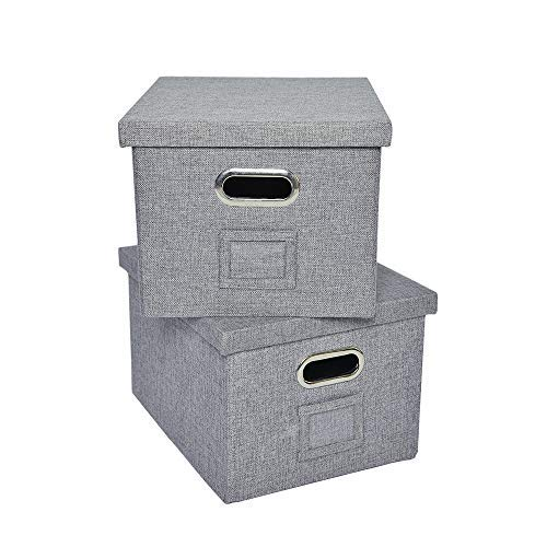 - ATBAY File Storage Box with lids Large Capacity Office File Organizer for Letter Size File Folder, Gray(2 Pack)
