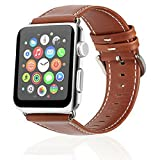 Apple Watch Leather Replacement Band 42mm, Steel Clasp Apple Watch Strap for Apple Watch Series 3 Series 2 Series 1 (Brick Red)