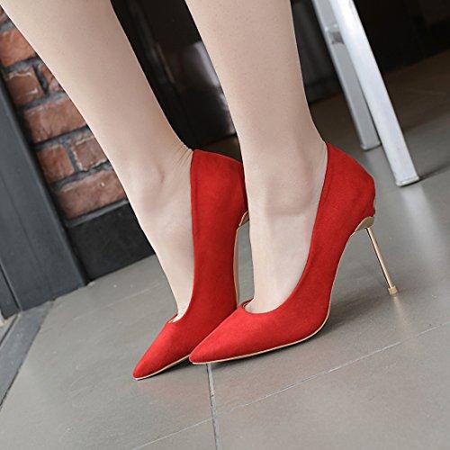UH Femmes Escarpins à Bout Pointu Talon Stiletto Elégants Chaussures de Soir Sexy Rouge TGSf0uqpqU