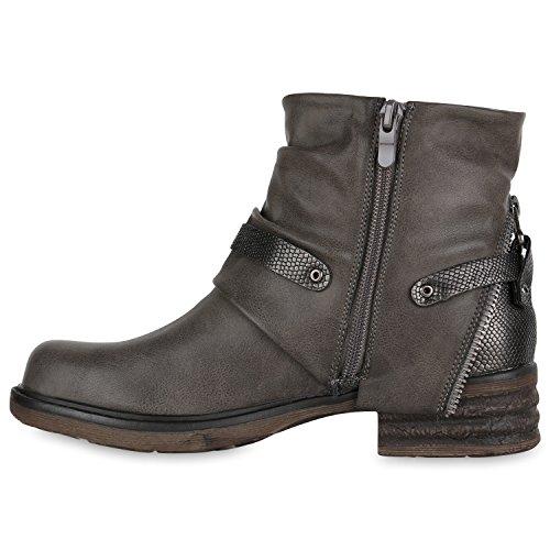 Stiefelparadies Stylische Damen Stiefeletten Stiefel Biker Boots Metallic Nieten Flandell Grau Camargo