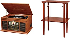 Victrola Nostalgic Classic Wood 6-in-1 Bluetooth Turntable Entertainment Center, Mahogany Bundle with Victrola Wooden Stand for Wooden Music Centers with Record Holder Shelf, Mahogany