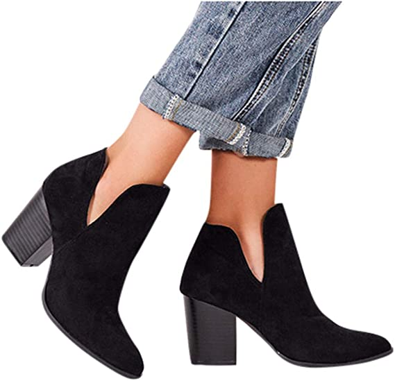 Chic Womens Round Toe High Block Heel Denim Embroidery Zip Star Ankle Boots Shoe