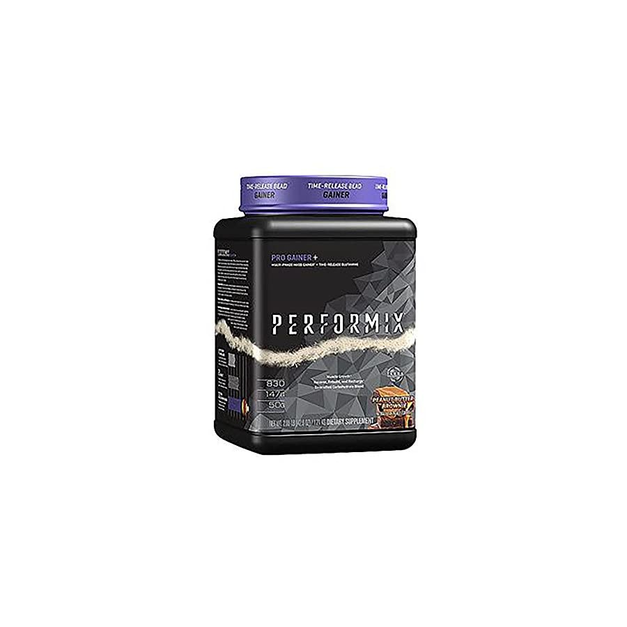 PERFORMIX Pro Gainer+ Multi Phase Mass Gainer Time Released Glutamine, Muscle Growth, Recover, Rebuild, Recharge, 2lb, Double Chocolate Brownie