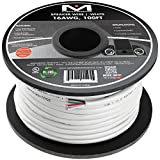 Mediabridge 16AWG 4-Conductor Speaker Wire (100 Feet, White) - 99.9% Oxygen Free Copper - CL2 for In-Wall ( SW-16X4-100-WH )