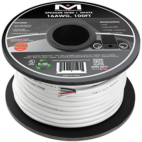 Mediabridge 16AWG 4-Conductor Speaker Wire (100 Feet, White) - 99.9% Oxygen Free Copper - CL2 for In-Wall (SW-16X4-100-WH) by Mediabridge