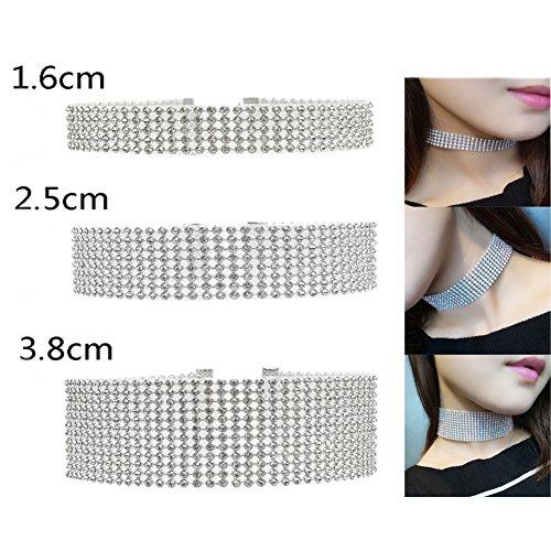 6 Rhinestone Choker Necklace - 2