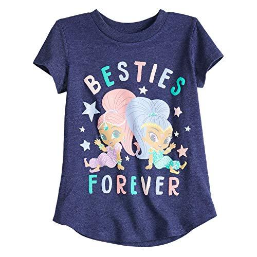 Jumping Beans Toddler Girls 2T-5T Shimmer & Shine Besties Forever Graphic Tee 5T Peacoat -