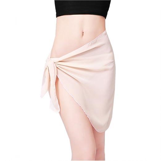 2d392f13f8ae9 Bitefuyw Sheer Chiffon Swim Beach Short Sarong Wrap Pareo Swimsuit Wrap  Skirt Cover-up Beige