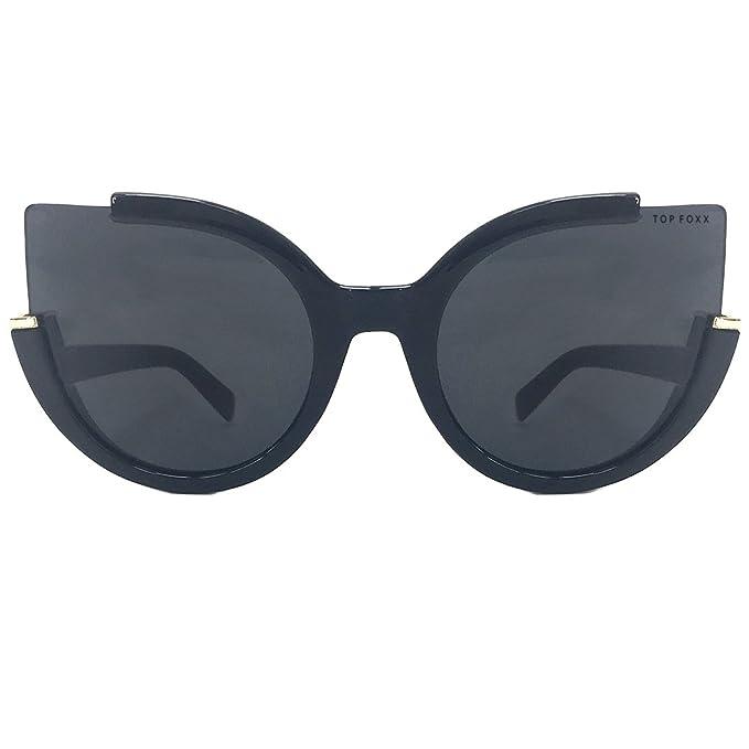 Amazon.com: topfoxx Chloe alta moda anteojos de sol, negro ...