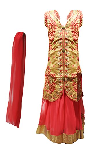 Zaffron Girls' Designer Lehenga Sets 3 Pieces Indian Part Dress Set 3 To 13 Years Sizes (28 (7 Years), Gold and Coral Red) by Zaffron Shop