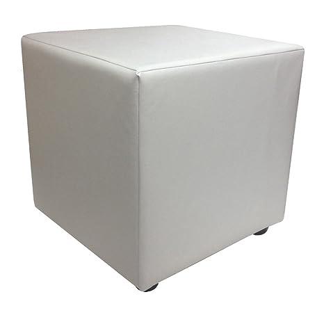Superb Cube Footstool 18 High In White Faux Leather Creativecarmelina Interior Chair Design Creativecarmelinacom