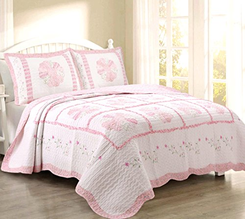 - Cozy Line Home Fashions Daisy Field Bedding Quilt Set, Pink White Flower Floral Embroidered Print Pattern 100% COTTON Reversible Coverlet Bedspread, Gifts for Kids Girl Women (Pink, Queen - 3 piece)
