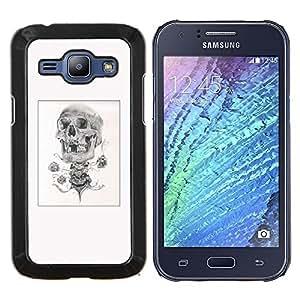 """For Samsung Galaxy J1 J100 Case , Cráneo del bosquejo del lápiz del cartel Negro Blanco"""" - Diseño Patrón Teléfono Caso Cubierta Case Bumper Duro Protección Case Cover Funda"""
