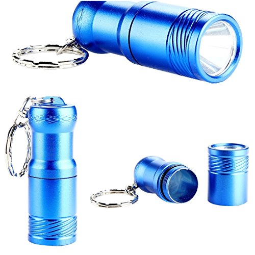 Deluxe Popular Mini Keychain 2000 Lumens 3-Modes LED Flashlight Pocket Light Tool Gift Keyfob Color Blue