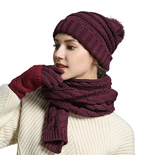 - Hat Gloves Scarf Set Knit Soft Pompom Touch Screen New Warm 3 Peices Cold Weather Gift Winter for Women Girl
