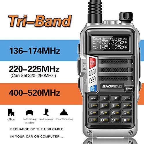 (2019 BaoFeng UV-9S Tri-Band 5W 2Pcs Antenna VHF UHF 136-174Mhz/220-225Mhz/400-520Mhz 10km Long Range Portable Two Way Radio)