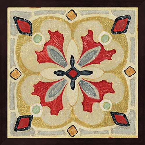 Bohemian Rooster Tile Square III by Daphne Brissonnet Fine Art Print with Wood Box Frame and Glass Cover, 15 x 15 inches