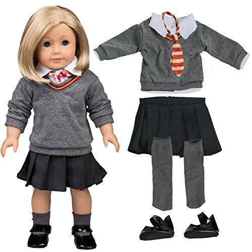 Hermione Granger Outfit (Hermione Granger Inspired Doll Outfit (6 Piece Set) - Halloween Costume Clothes for American Girl Doll & 18