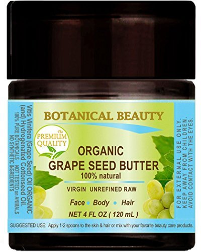 ORGANIC GRAPE SEED OIL – BUTTER RAW. 100 % Natural / VIRGIN UNREFINED / 100% PURE BOTANICAL. 4 Fl.oz.- 120 ml. For Skin, Hair, Lip and Nail Care. Make Grape Seed Oil