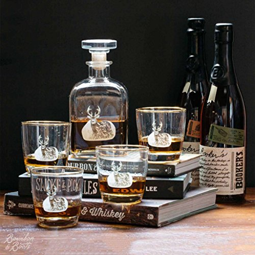 Whitetail-Deer-Whiskey-Decanter-Set-w-4-Tapered-Old-Fashion-Glasses
