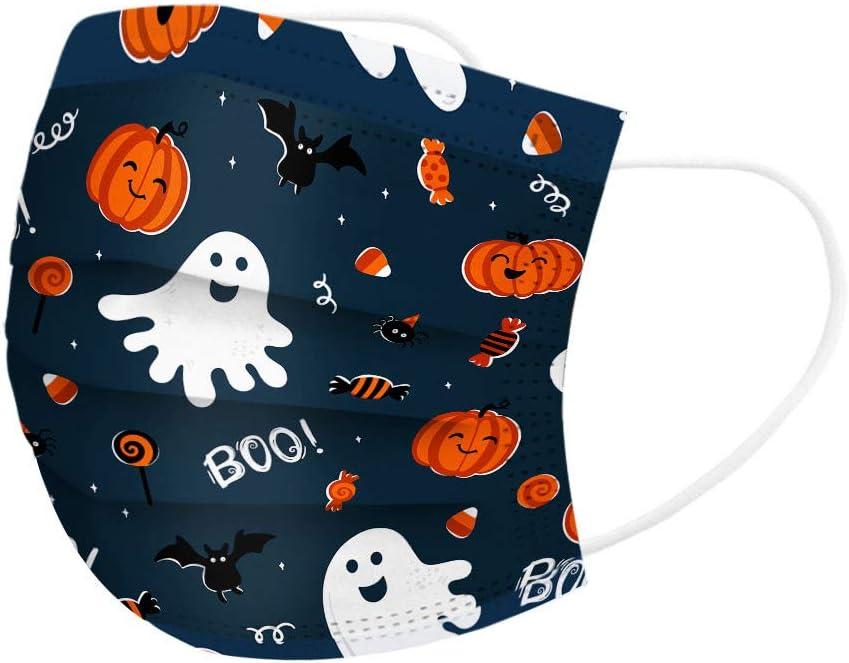 Mundfilter Nettes Halloween-Muster niedlicher bedruckter atmungsaktiver Stoff Einweg Einweg-Bandanas f/ür Kinder 3-lagig Wancooy 50x Mund Nase Schutz Einwegfilter